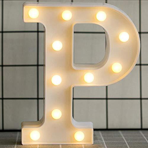Rainandsnow Luminous LED Brief Nachtlicht Englisch Alphabet Anzahl Lampe Hochzeit Dekoration Weihnachten Dekoration Zubehör, P