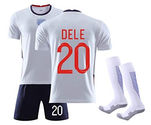 MRRTIME Fußballbekleidung für Erwachsene männliche Kinder, Sterling 10 DELE 20 Kane 9 Heimspieltraining Fan Trikot, Summer Kids Fußball Trikot Anzug Sportswear Set Uniform, Atmungsaktiv-DELE 20-22