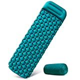 Inflatable Sleeping Mat with Pillow,Ultralight Camping Waterproof Mattress Folding Inflating Single Bed Portable