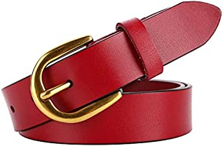 MYCHOMEUU Women's Vintage Wide Belt Leather Joker Casual Pin Buckle Belt (Color : Red)