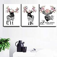 ウォールアート北欧ピンクフラワーディアポスターとプリントキャンバス絵画ブラックディアヘッド壁の写真リビングルームの家の装飾-40x60cmx3フレームなし