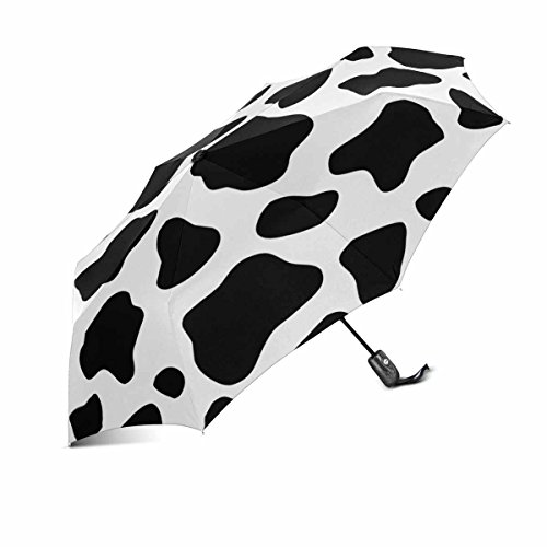InterestPrint Funny Cattle Cow Prints Black and White Doodle Windproof Compact One Hand Auto Open and Close Folding Umbrella, Rain & Outdoor Unbreakable Travel Umbrella