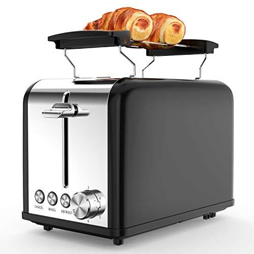 Tostapane 2 Fette, Tostapane per Toast 6 Livelli di Tostatura morpilot Tostapane Funcioni di Automatico Riscaldamento, Scongelamento e Annullamento 815W nero