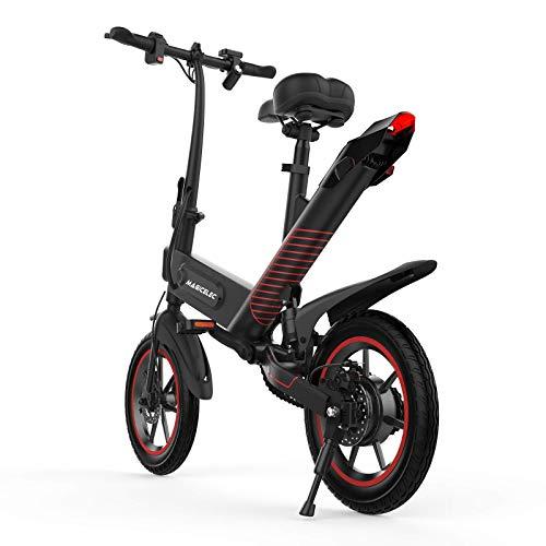 Freego Bicicleta eléctrica plegable, motor de 350 W, neumáticos de 14 pulgadas, ajuste de 3 modos de trabajo, amortiguador central, ciclismo al aire libre, viajes y viajes