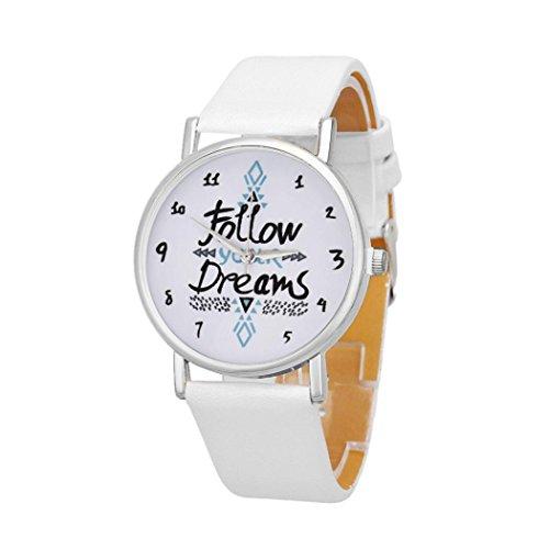 FAMILIZO Mujeres Moda Niñas Reloj Casual Cuarzo Reloj PU Cuero Letra Dial. (Blanco)