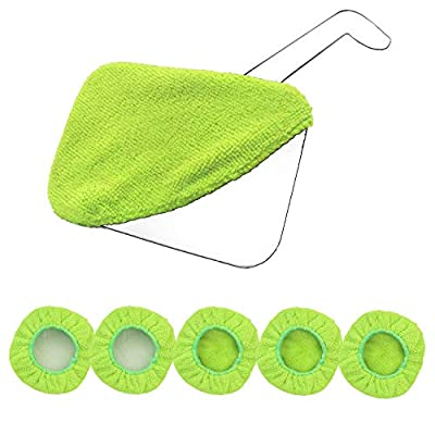 Car Care Replaced Microfiber Clothes for XINDELL Windshield Cleaning Brush Cotton Terry Washable Car Washing Pads - 5 Inch Diameter, Green, 5 Pack (Square)