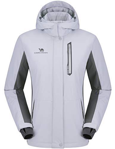 CAMEL CROWN Women's Mountain Snow Waterproof Ski Jacket Detachable Hood Windproof Fleece Parka Rain Jackt Winter Coat Gray L