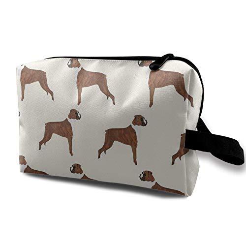XCNGG Bolsa de cosméticos para mujer Exquisitas bolsas de aseo Bolsas de maquillaje de moda con cremallera Boxer Patrón de perro Amante de los perros Mascota