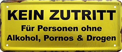 Pas de Fuite ni d'alcool, pornos. Plaque en tôle Humoristique 28 x 12 cm 1571