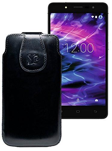 Original Suncase Tasche für MEDION® LIFE® E5005 (MD 99915) | Leder Etui Handytasche Ledertasche Schutzhülle Case Hülle / in schwarz