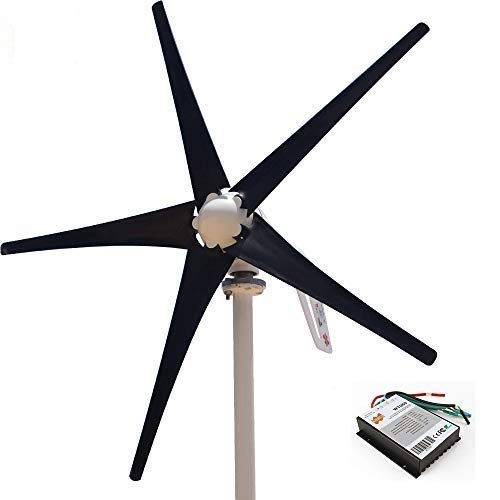 Marsrock Light and Powerful Small Three Colors 5 Blade 400W Wind Turbine Generator Kit AC 12V/24V with Windmill Generator Controller for Home Use (24V-Black)