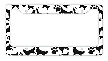 ThisWear Golden Retriever License Plate Frame Dog Silhouette Paw Print License Plate Frame Golden Retriever Gifts Dog Lovers Novelty License Plate Frame Golden Retriever