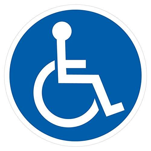 deformaze Sticker Rollstuhlfahrer Behinderten Aufkleber Warnaufkleber Selbstklebend KFZ Auto Scheibe UV Wetterfest Rund Blau Weiß - Verschiedene Größen wählbar (8 cm)
