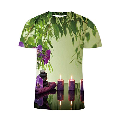Spa Still Life with Zen Stones Aromatic Candles and Orchids,Men/Women Hip Hop t-Shirt M