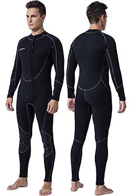 Mens 3mm Shorty Wetsuit Womens, Full Body Diving Suit Front Zip Scuba Diving Wetsuit Snorkeling Surfing (Mens Fullsuit, 3XL)