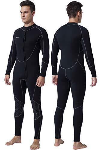 Mens 3mm Shorty Wetsuit Womens, Full Body Diving Suit Front Zip Scuba Diving Wetsuit Snorkeling Surfing (Mens Fullsuit, L)