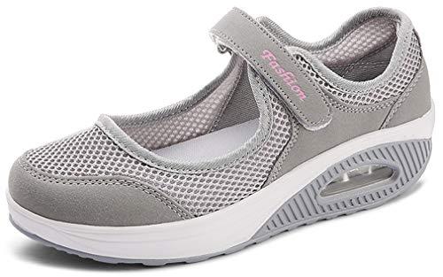 Solshine Damen Mesh Sommerschuhe Plateau Fitness Sneakers 787 Grau 37EU