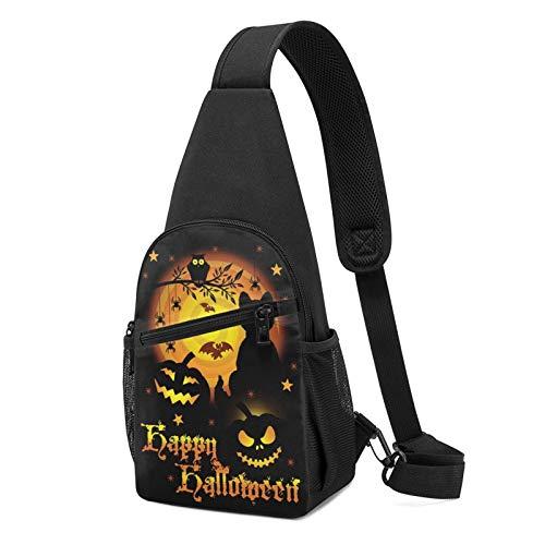 Mochila de Halloween con estampado de bruja de calabaza, mochila ligera para el pecho de viaje, senderismo, bolsa de hombro cruzada, color Negro, talla Talla única