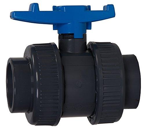 Aquaforte PVC Kugelhahn mit beidseitigen Überwurf, Ø 75 mm Klebemuffe