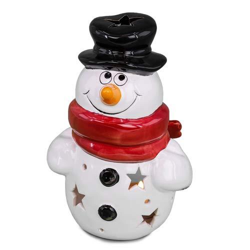 art decor Windlicht Schneemann mit Hut, Teelichthalter Weihnachten, Weihnachtsdekoration