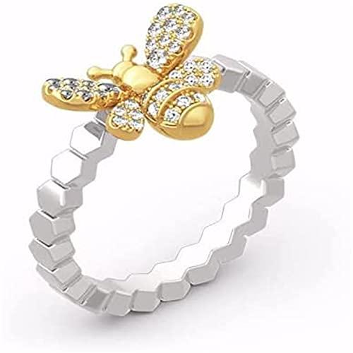 MTDBAOD Golden Bee & Honeycomb Ring,Diamond Golden Bee Honeycomb Ring for Women (6)