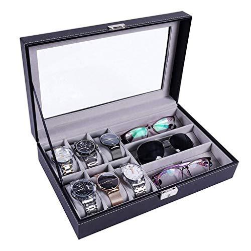 qazwsx Uhr Schmuck Display Aufbewahrungsbox,Haltbarer Verpackungshalter,Aufbewahrungskiste, Leder Sonnenbrille Organizer Kofferhalter