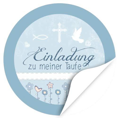 48 Design Etiketten, rund/Einladung zu meiner Taufe - blau/Thema Taufe, getauft/Aufkleber/Sticker/für die Feier und Gäste als Dankeschön