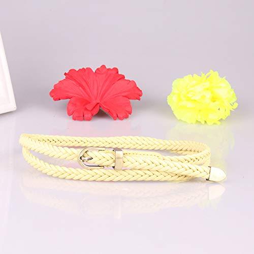 Woven riem vrouwelijke gesp wilde dunne riem vrouwen touw decoratie vrouwen riem 0 geel
