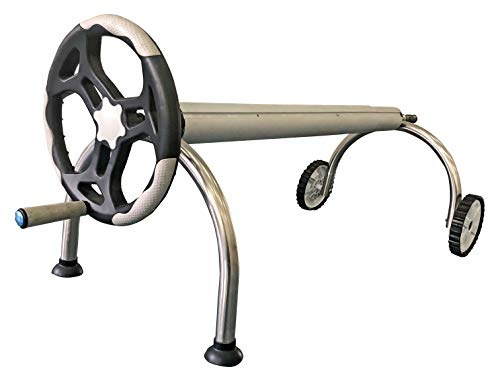SunHeater SPAGCR12U Stainless Steel U-Shaped Solar Blanket Reel System for Inground Pools – Tube Sold Separately – Durable Construction with Large Hand-Crank Wheel – Easy and Efficient, Stainless