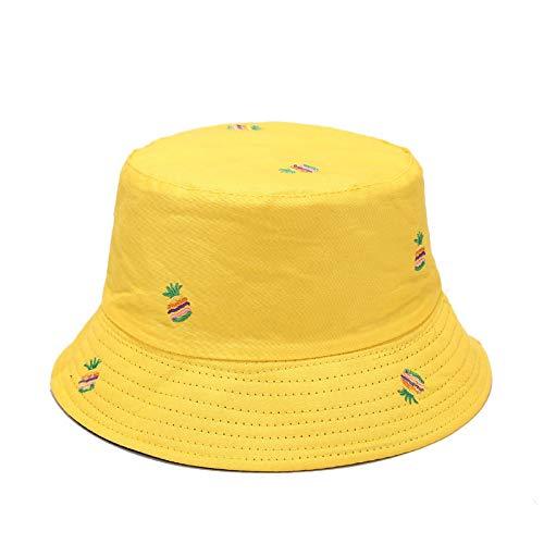 FEELHH Gorro De Pescador,Plegable Algodón Pescador Sombrero Piña Bordado Amarillo Doble Lado Reversible Anti-UV Portátil Sombrero De Sol Unisex Moda Al Aire Libre Gorra para Mujeres Hombres Parejas