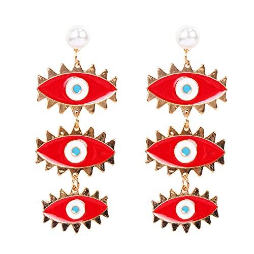 Pendientes Para Niña Aleación Gotas De Agua Pendientes De Ojos Pendientes Rojos