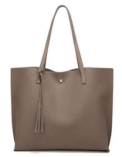 Women's Soft Faux Leather Tote Shoulder Bag from Dreubea, Big Capacity Tassel Handbag (Dark Khaki)