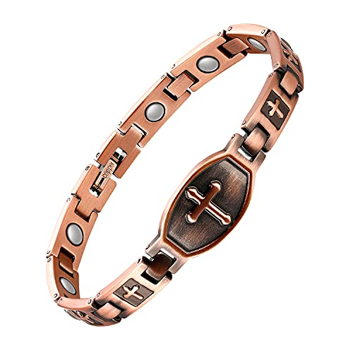 Jecanori Copper Magnetic Bracelet for Women Therapy Bracelet for Arthritis Pain Relief & Carpal Tunnel~Ultra Strength 3500 Gauss Magnet Jewelry Gift with Adjust Tool(Classic Cross)