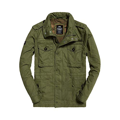 Superdry Field Jacket Chaqueta, Verde Fatiga, XL para Hombre