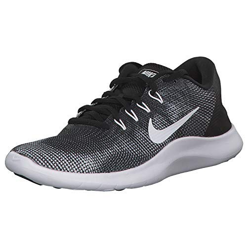 Nike Mens Flex RN 2018 Running Shoes, Black/White, 10.5