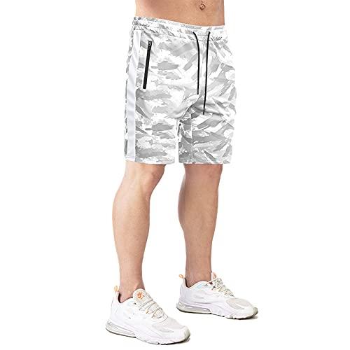 MakingDa Pantalones cortos deportivos casuales para hombre con bolsillos con cremallera de secado rápido, transpirables, pantalones cortos de entrenamiento y gimnasio