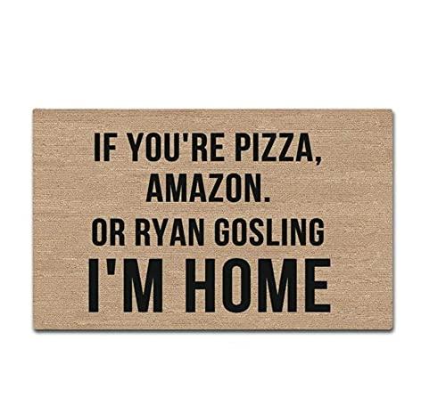 Felpudo decorativo de goma con texto en inglés 'If You're Pizza,Puppies,Amazon para la entrada del felpudo divertido para el hogar y la oficina