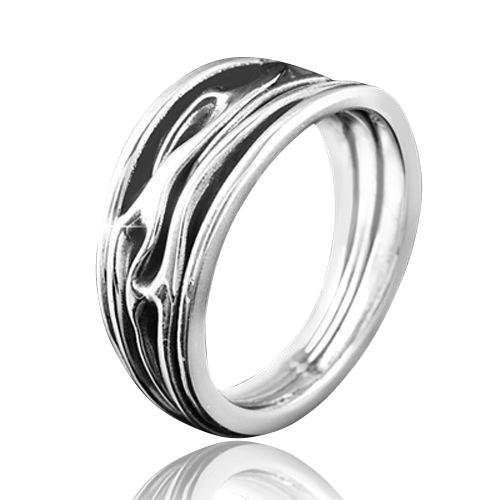 MATERIA Herren Ring Silber 925 Antik mit Wellenmotiv massiv inklusive Schmuckbox #SR-25, Ringgrößen:57 (18.1 mm Ø)