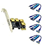JMT PCI-E 1x to 16x Riser Card PCI-Express 1 to 4 Slot PCIe USB3.0 Adapter Port Multiplier Miner Card for BTC Bitcoin Miner Mining (4sata Cables)