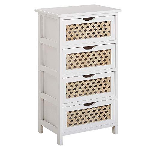 Beliani Kommode mit 4 verzierten Schubladen aus Holz in Weiß/hellem Holzfarbton Luis