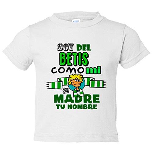 Camiseta bebé frase soy del betis como mi madre personalizable con nombre ilustrado por Jorge Crespo Cano - Blanco, 2 años