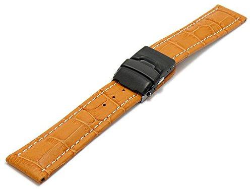 Meyhofer Uhrband Singapur 24mm orange Leder Alligator-Prägung helle Naht Schwarze Faltschließe MyHekslb202/24mm/orange/hN/FS