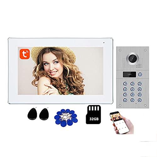 Tuya Smart Timbre con video Wifi, sistema de intercomunicación con video 1080P, cámara de seguridad con desbloqueo de tarjeta RFID con contraseña + Monitor de 10 pulgadas + 32G,Blanco