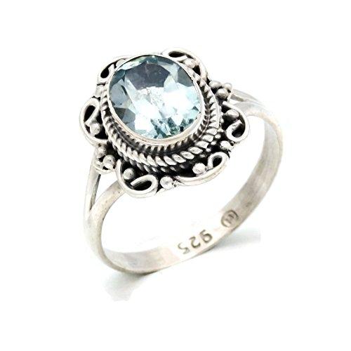Ring Silber 925 Sterlingsilber Blau Topas blau Stein (Nr: MRI 122), Ringgröße:60