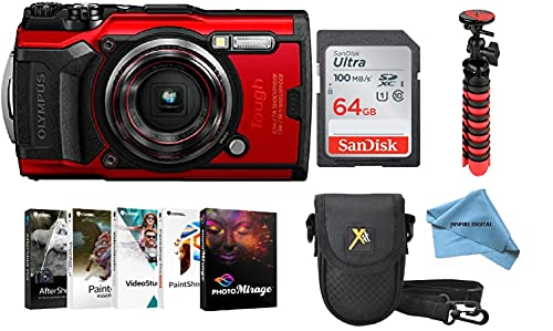 Olympus Tough TG-6 Bundle Includes - Flex Tripod + Photo Software Suite + Sandisk 64GB Ultra Memory Card + Padded Case