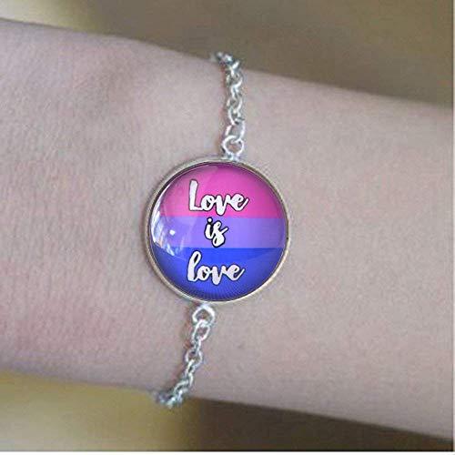 Love is Love is Love Bisexual Pride Espiritual, Pulseras espirituales de cúpula de cristal, regalo LGBT, joyería de arte con texto, joyería de sexualidad gay