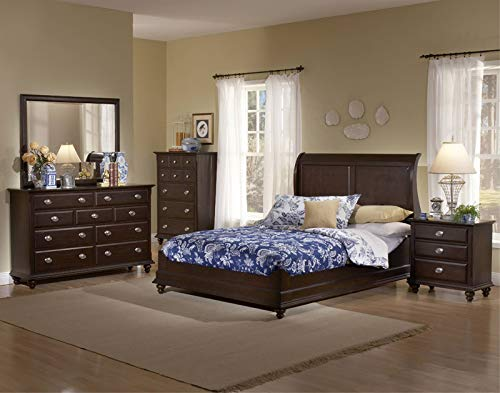 Kings Brand Furniture 6-Piece Dark Cherry Wood Queen Size Bedroom Set. Bed, Dresser, Mirror, Chest, 2 Nightstands