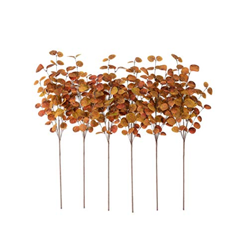 YNYLCHMX 6 Pieces 28' Artificial Eucalyptus Leaves Stems Fall Leaf Spray, Autumn Leaves Picks for Vase Room Kitchen Office Decoration