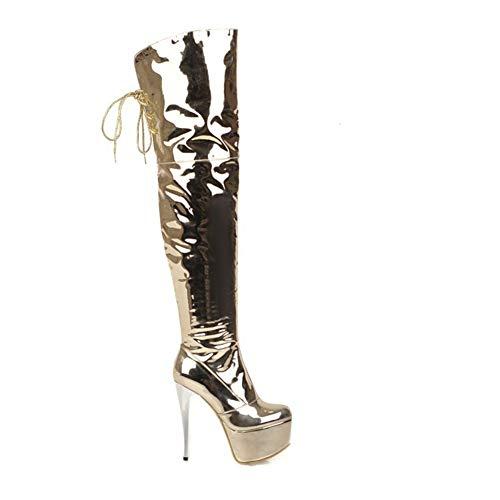 Weng-Long Sobre la rodilla botas de cuero de mujeres Espejo patente de lentejuelas cómodo felpa corta Moda botas, botas de lado...