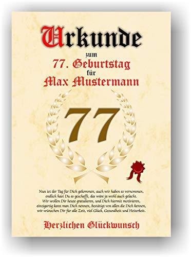 Urkunde zum 77. Geburtstag - Glückwunsch Geschenkurkunde personalisiertes Geschenk mit Name Gedicht und Spruch Karte Präsent Geschenkidee Mann Frau DIN A4